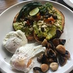 Smashed avo add egg Bacon and egg sandwich  Carrot cake (delicious !)