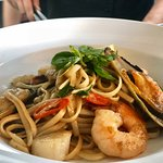 Spicy Seafood Linguine, In Asain Style with Prawn Cutlets, Scallops, Mussels, Calamari