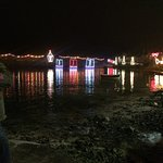 xmas lights on the harbor