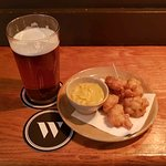 Cucumber fritters with curry mayo + Cassini ale