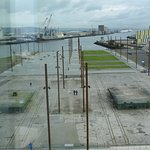View from the Titanic Centre showing the iron uprights poles marking the size of Titanic