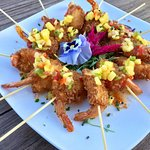 Catering Menu: Coconut encrusted jumbo shrimp with sweet and spicy coconut chutney