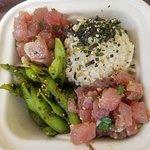 Edamame, shoyu ahi and traditional Hawaiian poke with brown rice