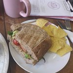 half a sandwich TLT with tortilla chips - lovely
