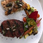 Beef Filet, Sea Bass and Veggies