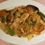 Stir fry chicken with vegetables.