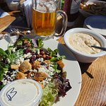 Clam Chowder, salad, and beer--at the beach! Yum!