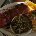 Tender Ribs with Soulful Collards and Savory Homemade Mashed Potatoes.