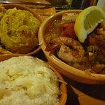 Shrimp creole, squash casserole, grits