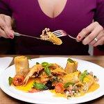 Paccheri Prawns, Salmon and Zucchini