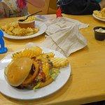 Burgers, waffle fries, and mac n cheese.