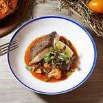 charcoal roasted Kingfish, freshly stewed Mediterranean sauce, basil