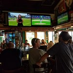 Sports bar, loud and busy
