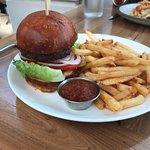 Chicken sandwich and hamburger