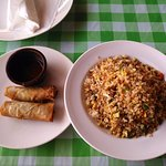 Recommended: vegetable spring rolls and beef fried rice