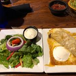 Beef Enchilada, choice of salad, rice or beans on the side