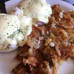 Crab Eggs Benedict with extra crispy hash browns.