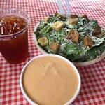 Iced Tea, Lobster Bisque (bowl), Caesar Salad