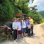 Walking downhill to Trung Do Village of the Tay Minority to the Chay riverbank.