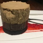 Black Bottom Tart. Coffee mouse topping a chocolate truffle texture on crunchy chocolate biscuit