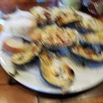 grilled oysters with shrimp and spinich