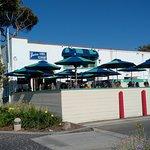 Dining patio of Greeters Corner restaurant in Laguna Beach, CA
