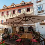 Jakub Restaurant - lovely outside sitting in the heart of town Český Krumlov
