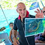 Our superstar master diver Ioannis instructs on sea life not indigenous to Crete