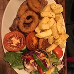 Welsh Black Sirloin Steak with all the trimmings - delicious!