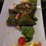 Vegetarian stuffed grapeleaves.