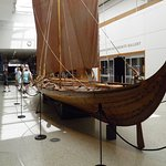 A display of  reconstruction of a Vikings boat at Denver Museum.