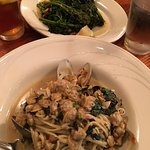 Clams over Linguine and side of Rabe