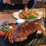 whole crab and fish and chips