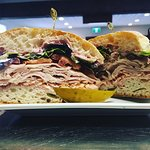Rossdown turkey sandwich, house smoked turkey on organic ciabatta