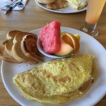 We had an amazing brunch with mimosas and omelettes.