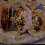 2 ground beef tacos and 1 chorizo taco
