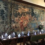 dining hall with beautiful tapestry