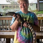 holding the gator after the trip