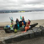 Mermaids along the seawall during the seawheeze half marathon