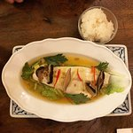 Sea-bass in shiitake sauce