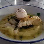Cod with poached egg.