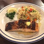Cajun Salmon with orange honey butter and rice pilaf