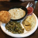 Chicken and dumplings, green beans, mashed potatoes, biscuit