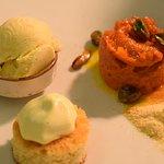 carrot dessert, safffron foam