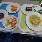 Lunch, chicken creole, sausage salad, raspberry tart, choc affair all good
