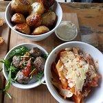 potatoes, meatballs, and pasta napoli