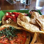 Ciabatta Sandwich with chicken homemade tortilla chips and salsa