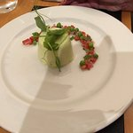 Goats cheese and pea panna cotta