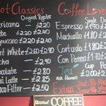 Wall menu - drinks offered #2.