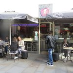 Fresco Cafe on Friary Street - pavement drinking in the cold Autumn wind. Popular.